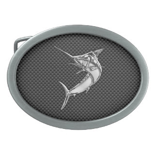 Chrome Style Marlin on Carbon Fiber Belt Buckle