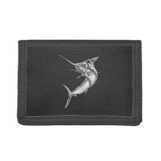 Chrome Style Marlin on Carbon Fiber Tri-fold Wallet