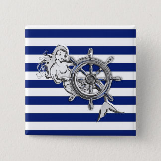 Chrome Style Mermaid on Nautical Stripes 15 Cm Square Badge