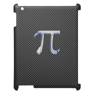 Chrome Style Pi Symbol on Carbon Fiber Print Case For The iPad