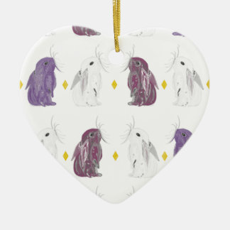 Chrome style rabbit pattern ceramic heart decoration