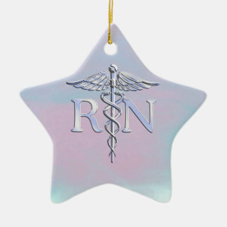 Chrome Style RN Caduceus Medical Mother Pearl Look Ceramic Star Decoration