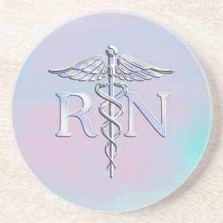 Chrome Style RN Caduceus Medical Mother Pearl Look Drink Coasters