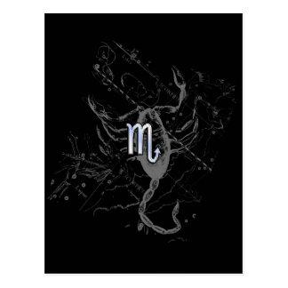 Chrome Style Scorpio Zodiac Symbol on Hevelius Postcard