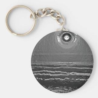 Chrome Sunset Basic Round Button Key Ring