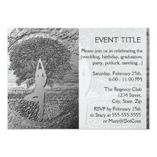 "Chrome Tree of Life Yoga 5"" X 7"" Invitation Card"