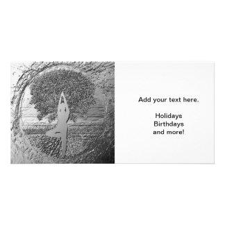 Chrome Tree of Life Yoga Photo Greeting Card