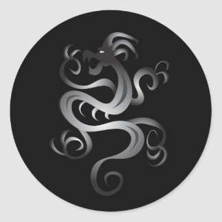 Chrome Tribal Dragon Round Sticker