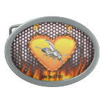 Chrome wasp (yellow jacket) design 1 with fire oval belt buckles