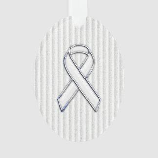 Chrome White Ribbon Awareness on Vertical Stripes
