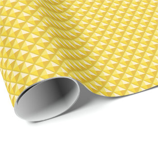 Chrome yellow, enamel look, studded grid wrapping paper