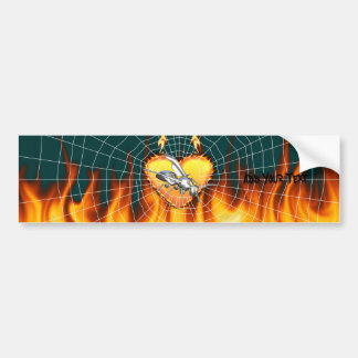 Chrome yellow jacket design 1 with fire and web. bumper sticker