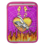 Chrome yellow jacket design 1 with fire and web. iPad sleeves