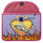 Chrome yellow jacket design 1 with fire and web. MacBook pro sleeves