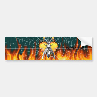 Chrome yellow jacket design 4 with fire and web. bumper sticker
