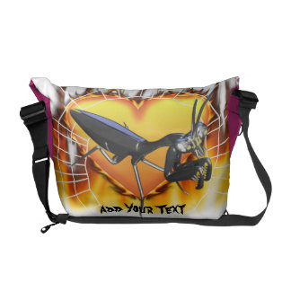 Chromed praying mantis design 1 with fire and web courier bag