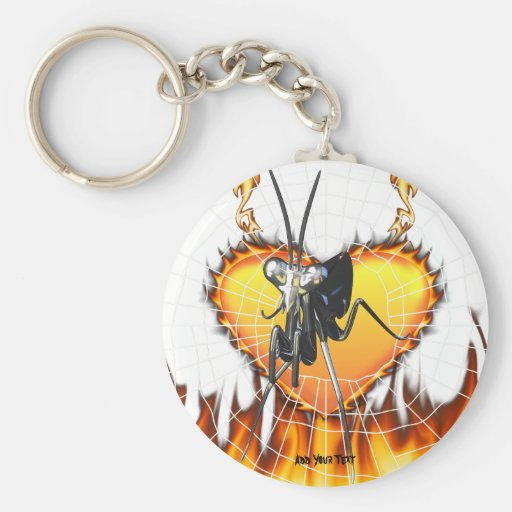 Chromed praying mantis design 2 with fire and web. basic round button key ring