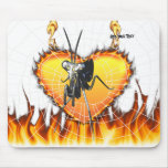 Chromed praying mantis design 2 with fire and web. mousemats