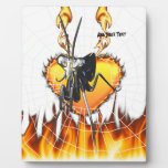 Chromed praying mantis design 2 with fire and web. display plaque