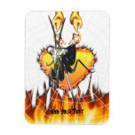 Chromed praying mantis design 2 with fire and web. rectangle magnet