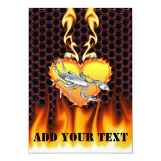 Chromed scorpion design 1 with fire 13 cm x 18 cm invitation card