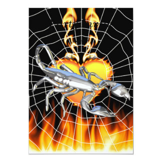 Chromed scorpion design 1 with fire and we 13 cm x 18 cm invitation card