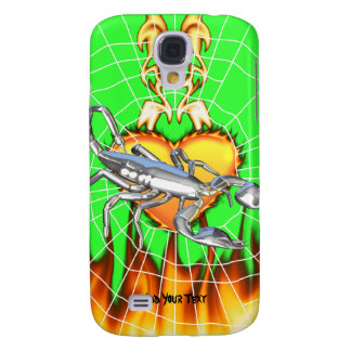 Chromed scorpion design 1 with fire and we samsung galaxy s4 cover