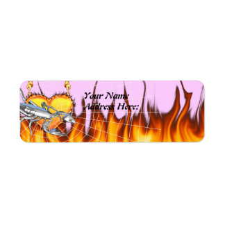 Chromed scorpion design 1 with fire and we return address label