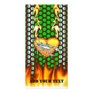 Chromed scorpion design 1 with fire customized photo card