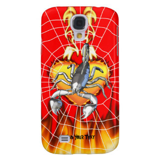 Chromed scorpion design 2 with fire and web galaxy s4 cases