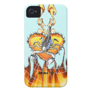 Chromed scorpion design 2 with fire and web Case-Mate iPhone 4 cases