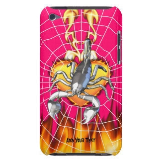Chromed scorpion design 2 with fire and web barely there iPod covers