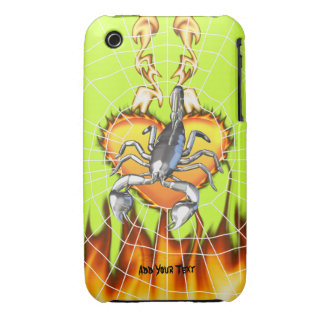 Chromed scorpion design 2 with fire and web. iPhone 3 case
