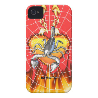 Chromed scorpion design 2 with fire and web. iPhone 4 case