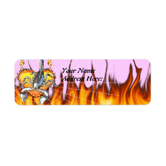 Chromed scorpion design 2 with fire and web. return address label
