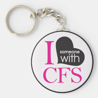 Chronic Fatigue Awareness (pink and black) Basic Round Button Key Ring