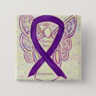 Chronic Pain Awareness Angel Ribbon Art Pin