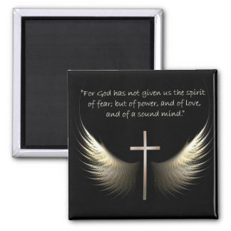 Chrstian Cross with Holy Spirit and Bible Verses Square Magnet