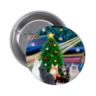 Chrstmas Magic - Six cats (variety) 6 Cm Round Badge