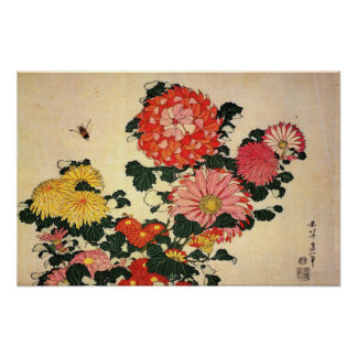 Chrysanthemum and Bee Poster