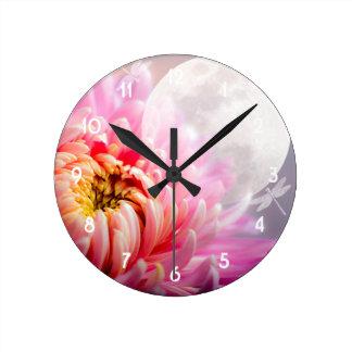 Chrysanthemum and Moon Wall Clock