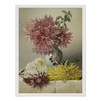 Chrysanthemum and Vase Poster