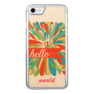 Chrysanthemum Bold Colorful Floral Hello World Carved iPhone 8/7 Case