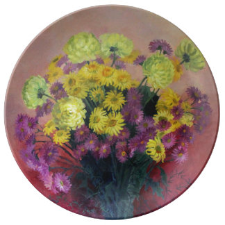 Chrysanthemum bouquet plate