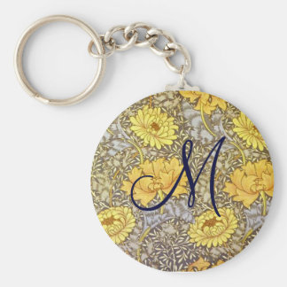 chrysanthemum by William Morris Basic Round Button Key Ring