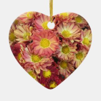 Chrysanthemum Cluster Garden Yellow Pink Ceramic Heart Decoration
