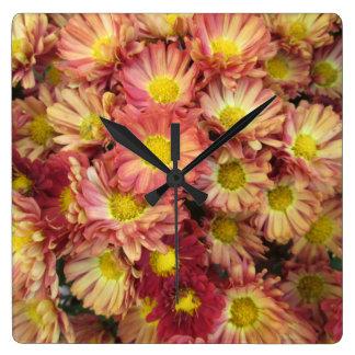 Chrysanthemum Cluster Garden Yellow Pink Square Wallclock