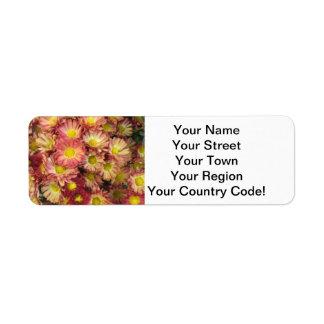 Chrysanthemum Cluster Garden Yellow Pink Return Address Label