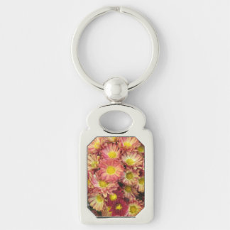 Chrysanthemum Cluster Garden Yellow Pink Silver-Colored Rectangle Key Ring