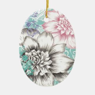 chrysanthemum floral design ceramic oval decoration